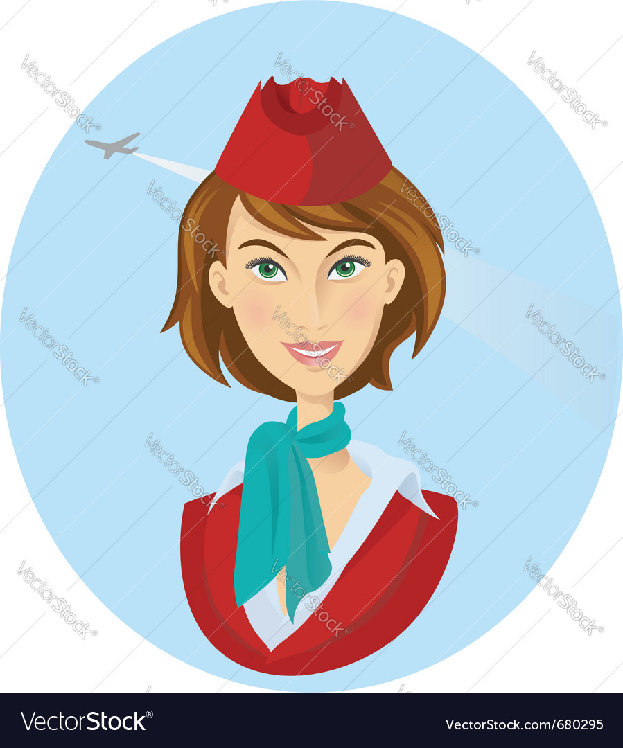 Beauty cheerful stewardess women vector | Price:  Credit (USD $)