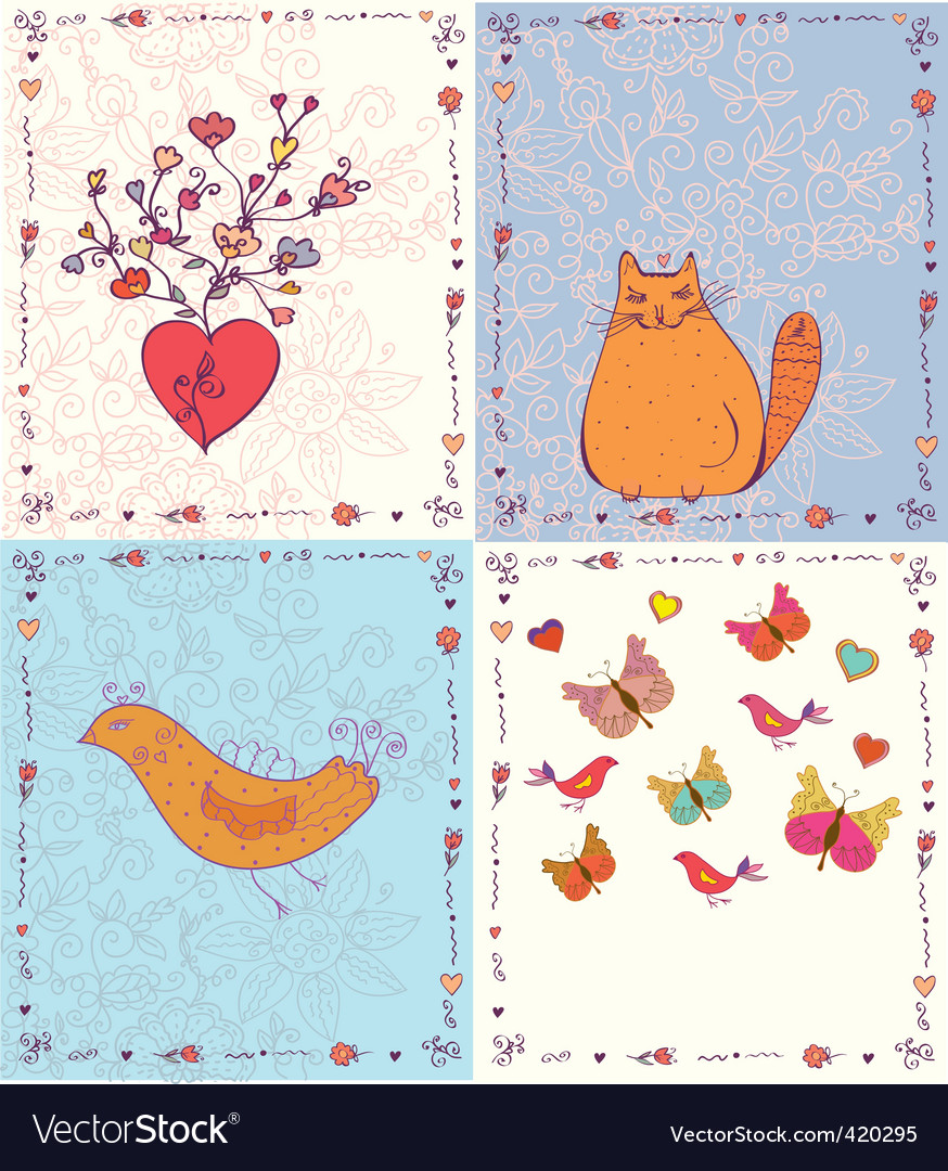 Cards animals vector | Price: 1 Credit (USD $1)