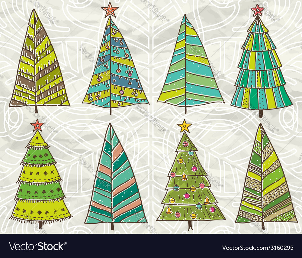 Christmas trees on beije crumple background vector