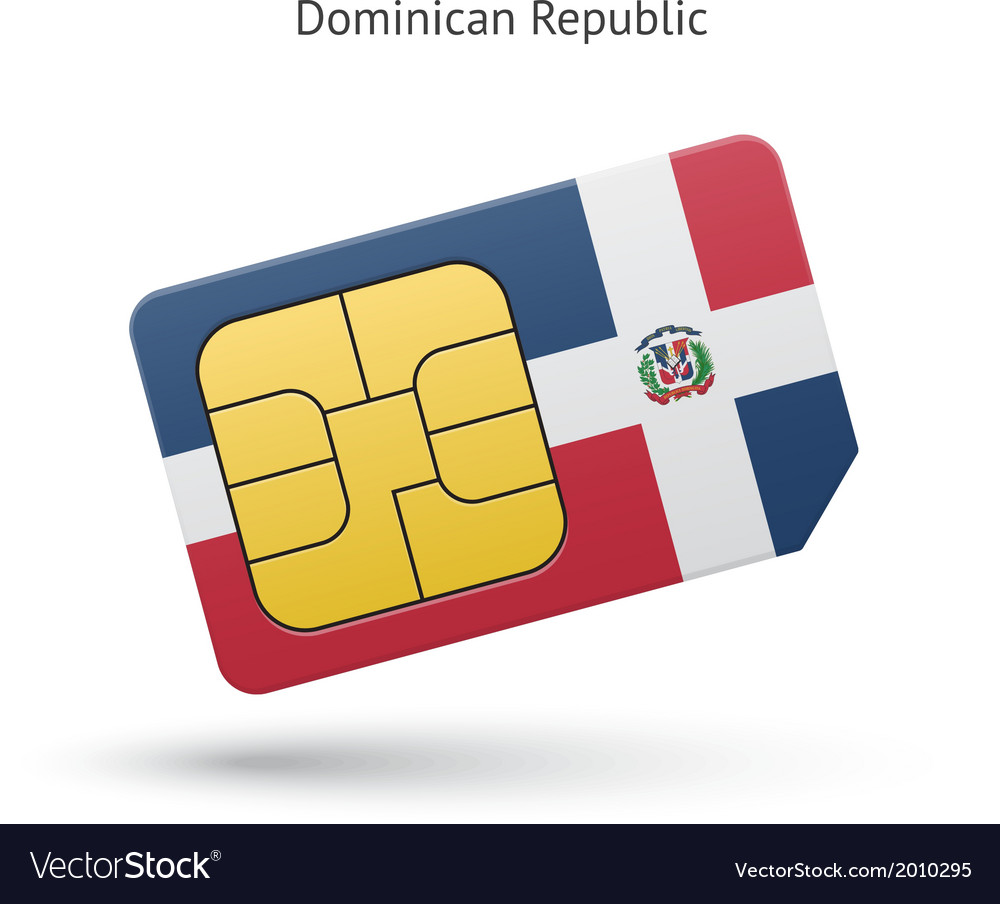 Dominican republic mobile phone sim card with flag vector | Price: 1 Credit (USD $1)