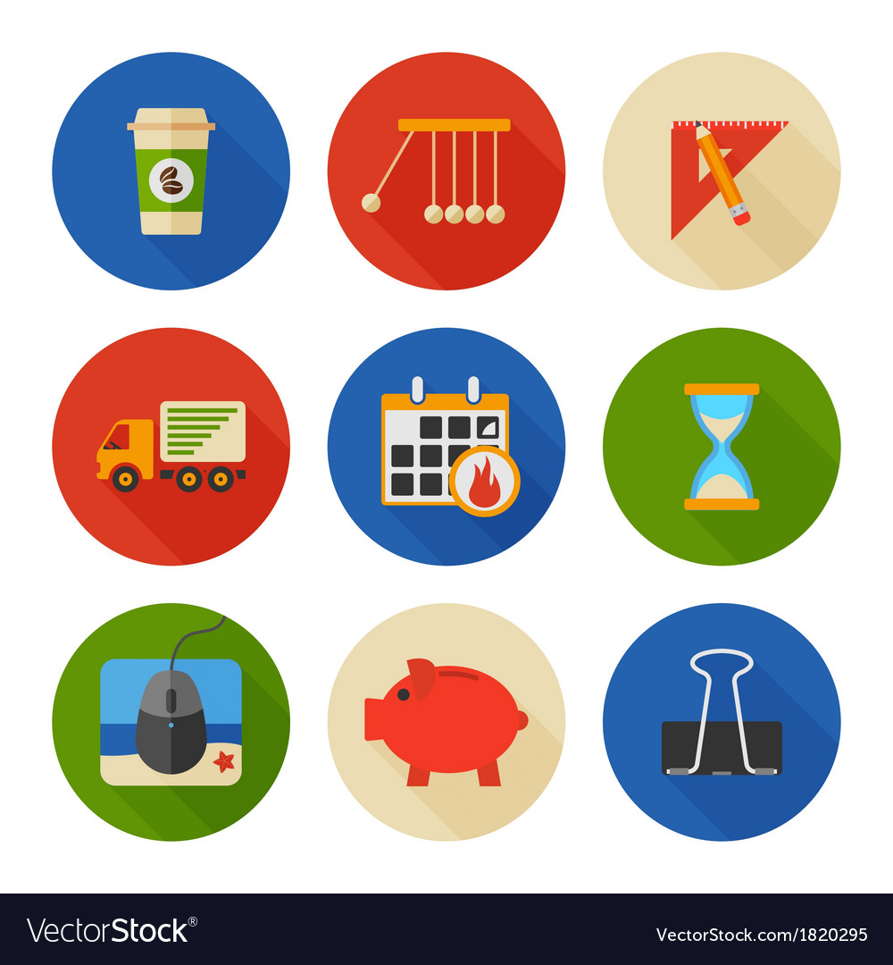 Flat icons set business office vector | Price: 1 Credit (USD $1)