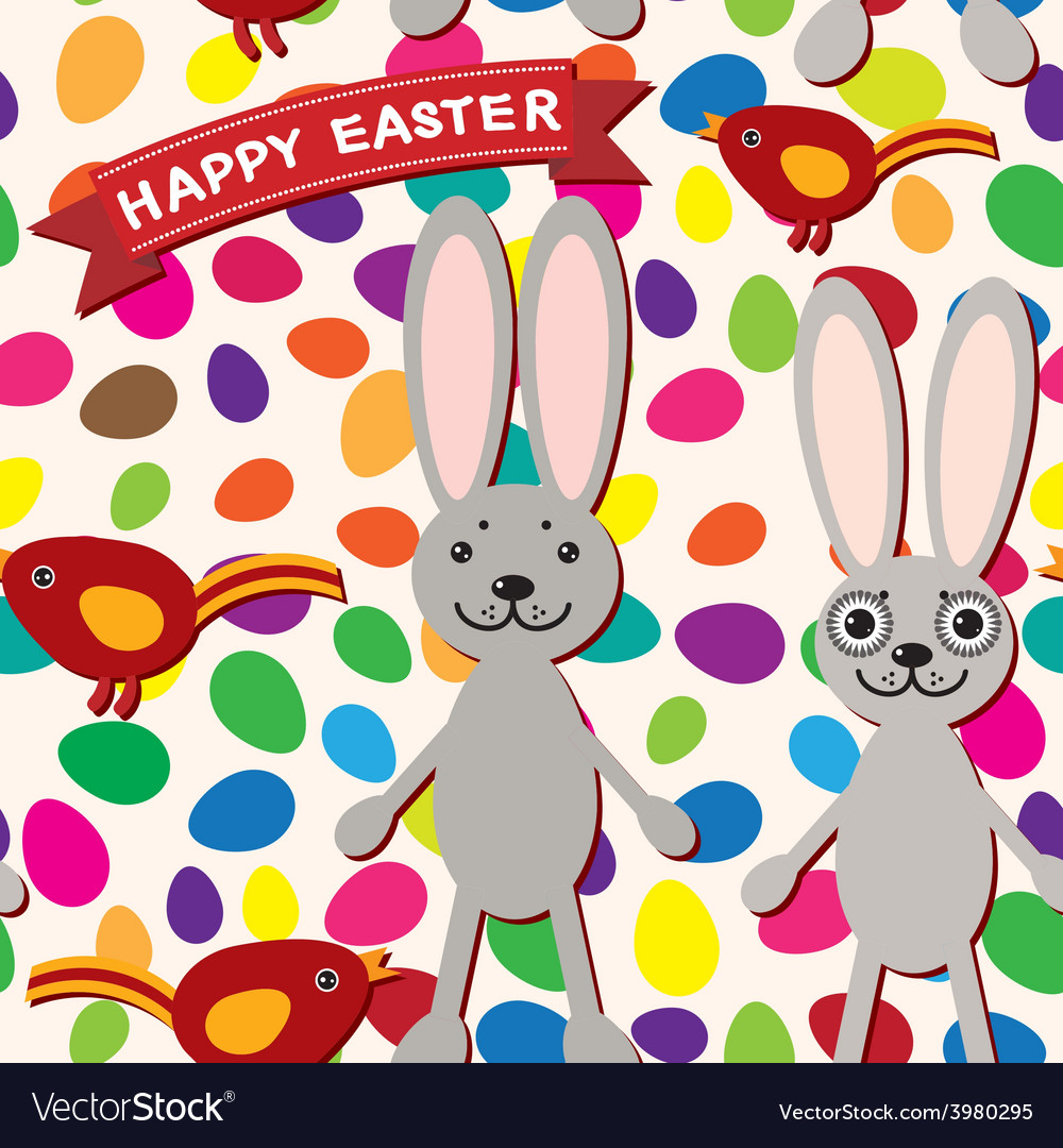 Happy easter seamless pattern rabbit eggs bird vector | Price: 1 Credit (USD $1)