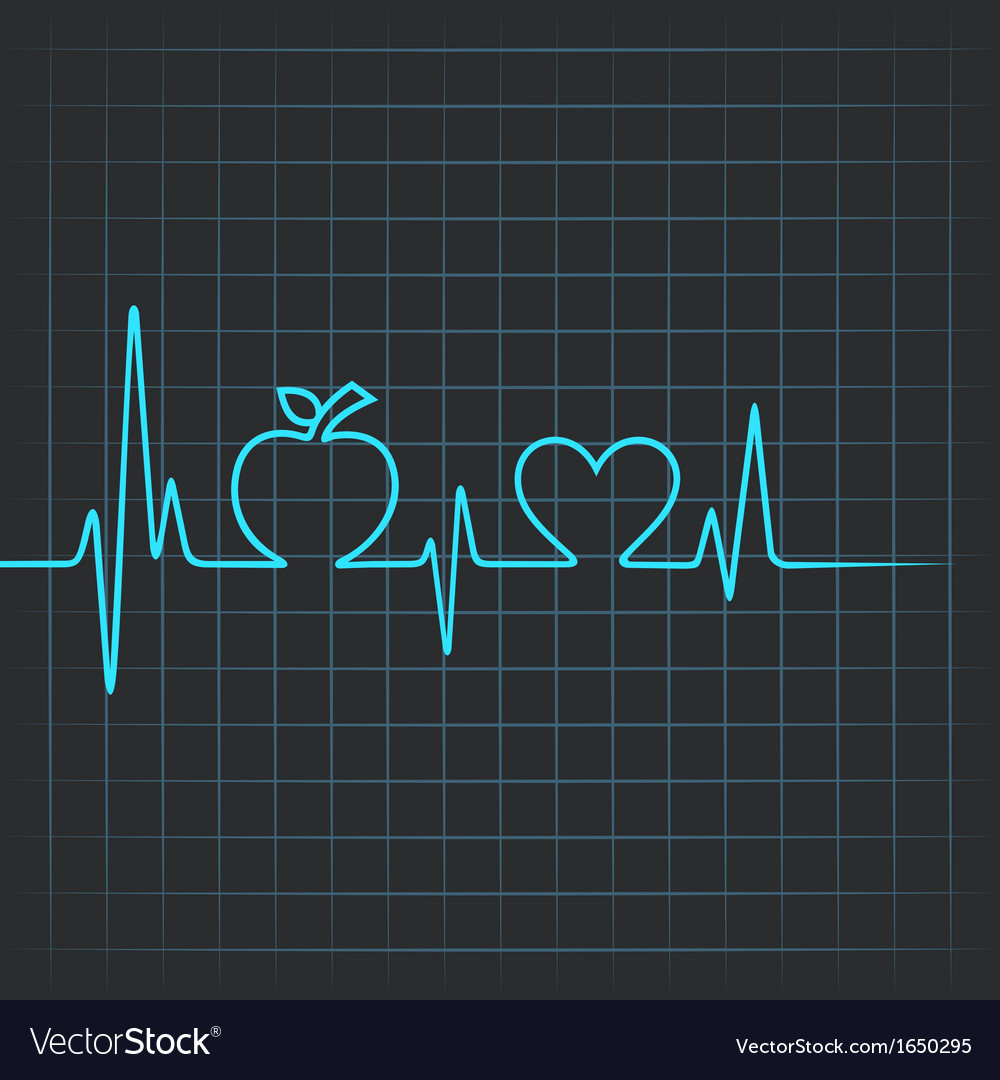 Heartbeat make apple and heart symbol vector | Price: 1 Credit (USD $1)