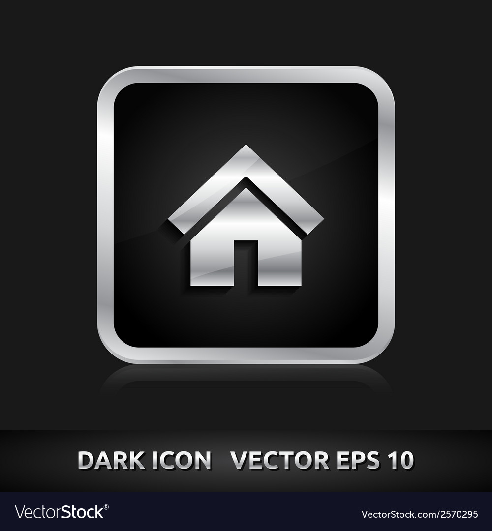 Home default icon silver metal vector | Price: 1 Credit (USD $1)