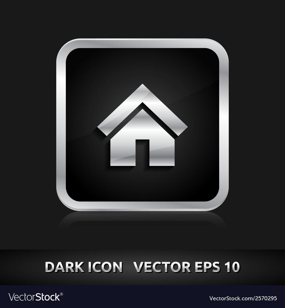 Home default icon silver metal vector | Price: 1 Credit (USD $1)