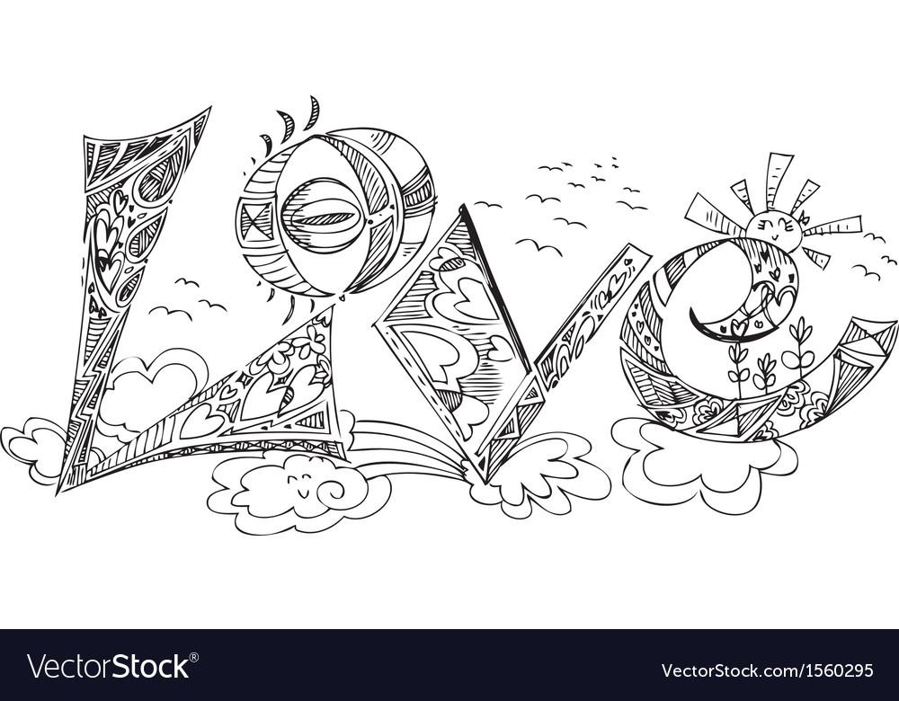 Love sketchy doodles vector | Price: 1 Credit (USD $1)