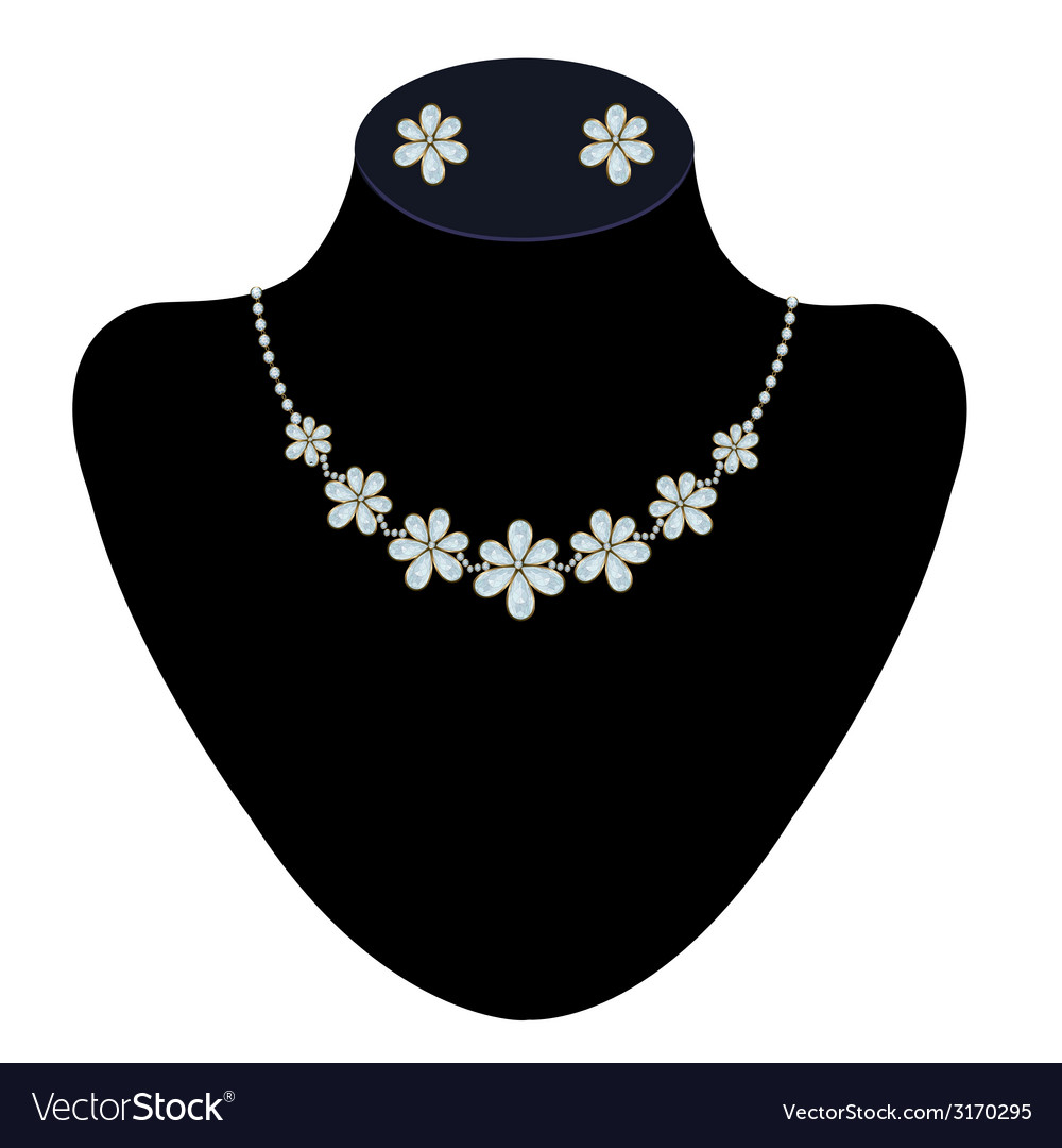 Necklace and earrings on a mannequin vector | Price: 1 Credit (USD $1)