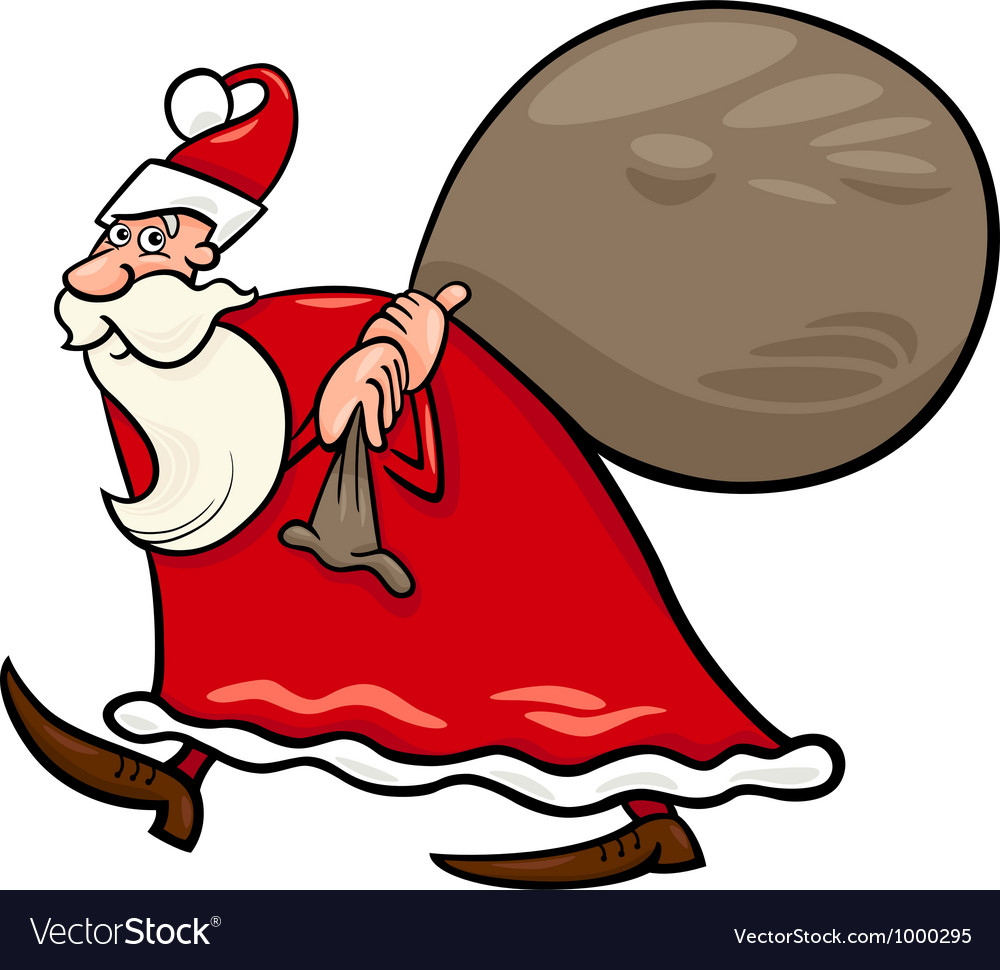 Santa claus with sack cartoon vector | Price: 1 Credit (USD $1)