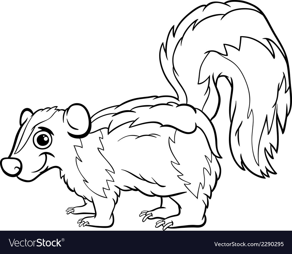 Skunk animal cartoon coloring page vector | Price: 1 Credit (USD $1)