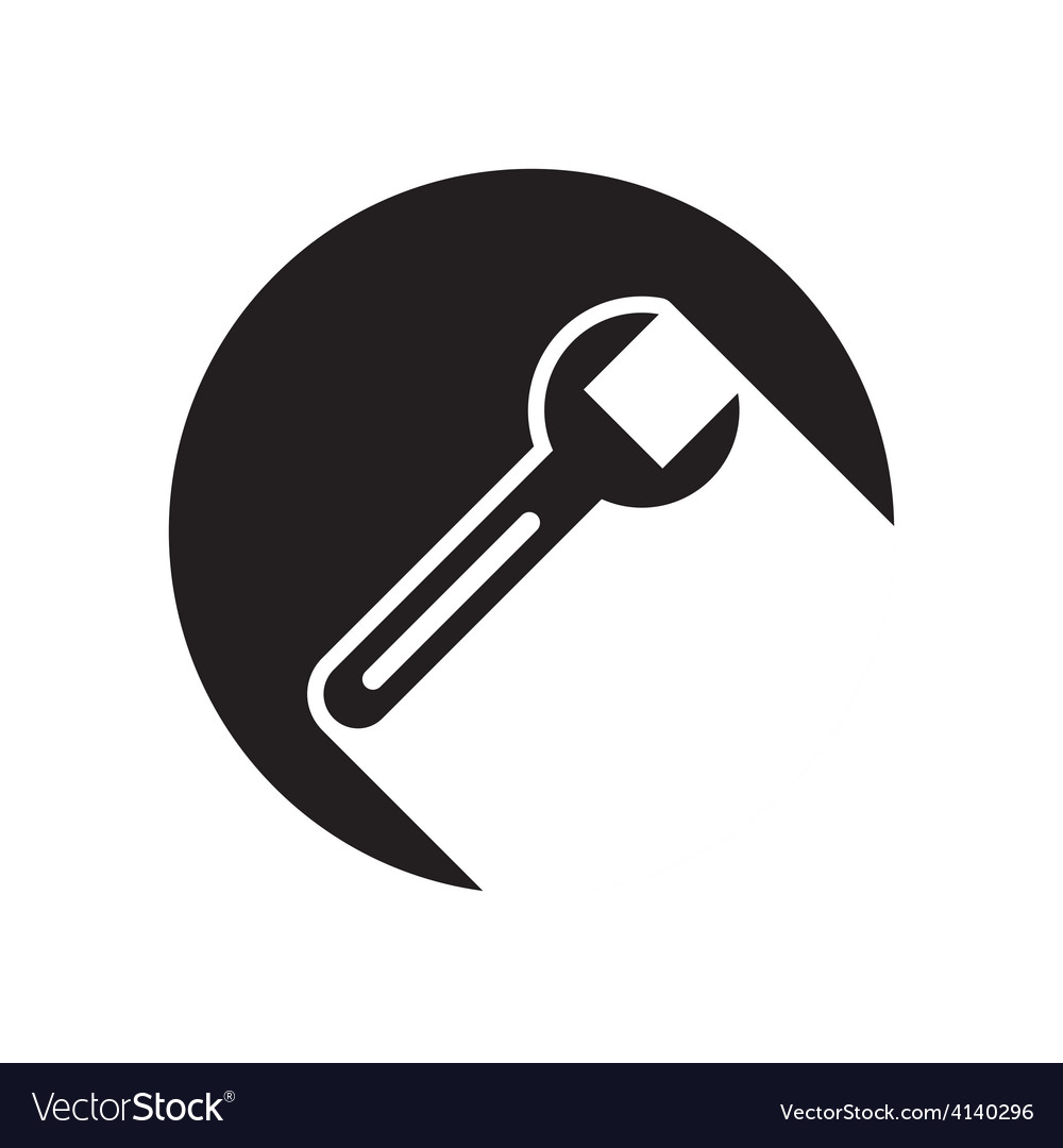 Black icon with spanner and stylized shadow vector | Price: 1 Credit (USD $1)