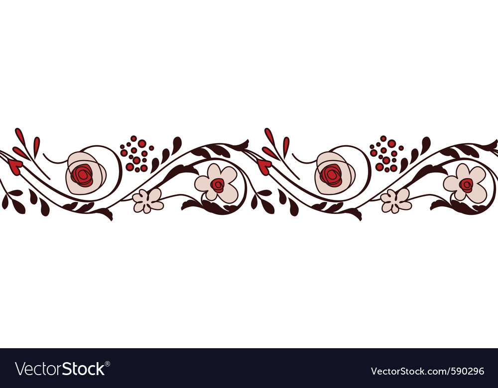 Border with flowers vector | Price: 1 Credit (USD $1)