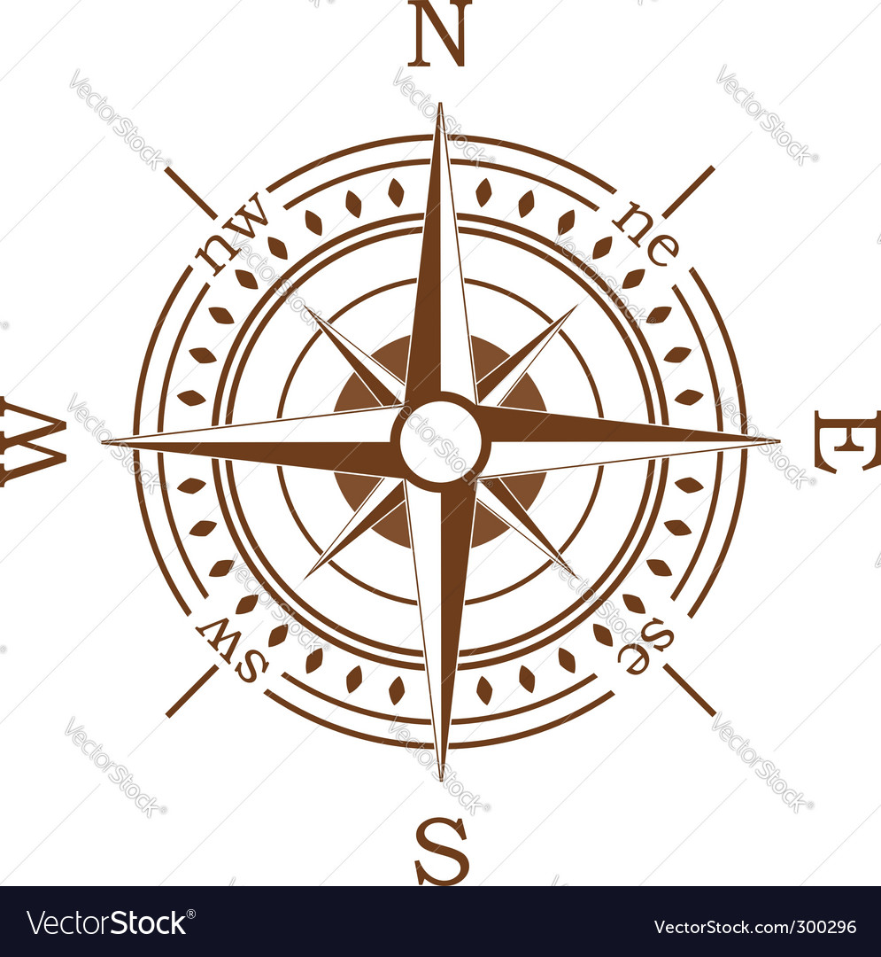 Brown compass vector | Price: 1 Credit (USD $1)
