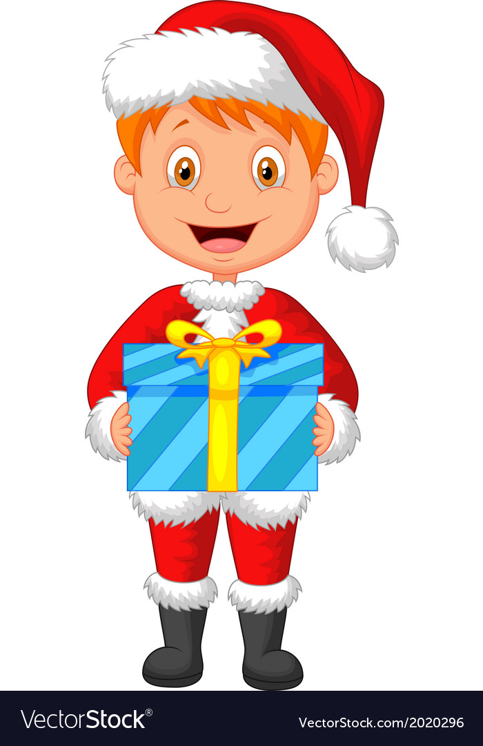 Cartoon a boy in red clothes holding gift vector | Price: 1 Credit (USD $1)
