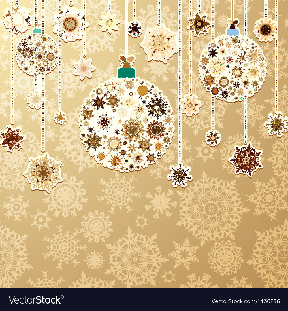 Christmas gold with baubles eps 8 vector   Price: 1 Credit (USD $1)