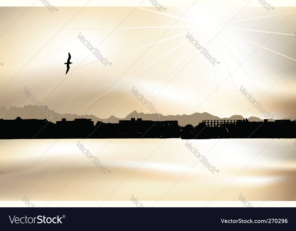 Cityscape silhouette on sunset vector | Price: 1 Credit (USD $1)