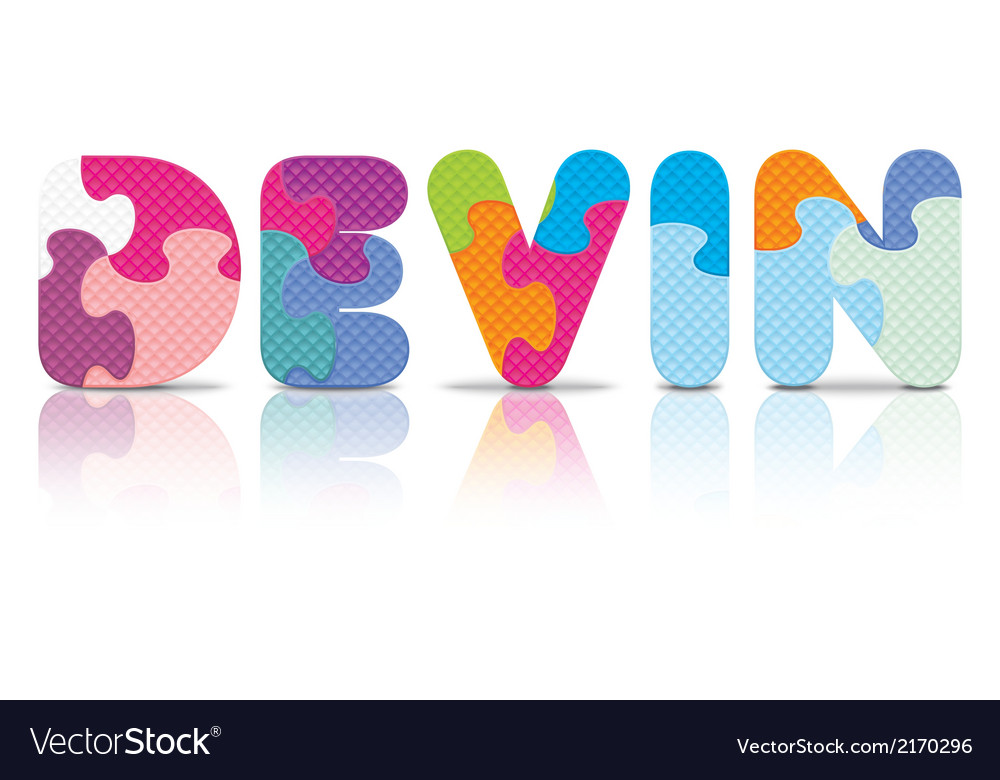 Devin written with alphabet puzzle vector | Price: 1 Credit (USD $1)