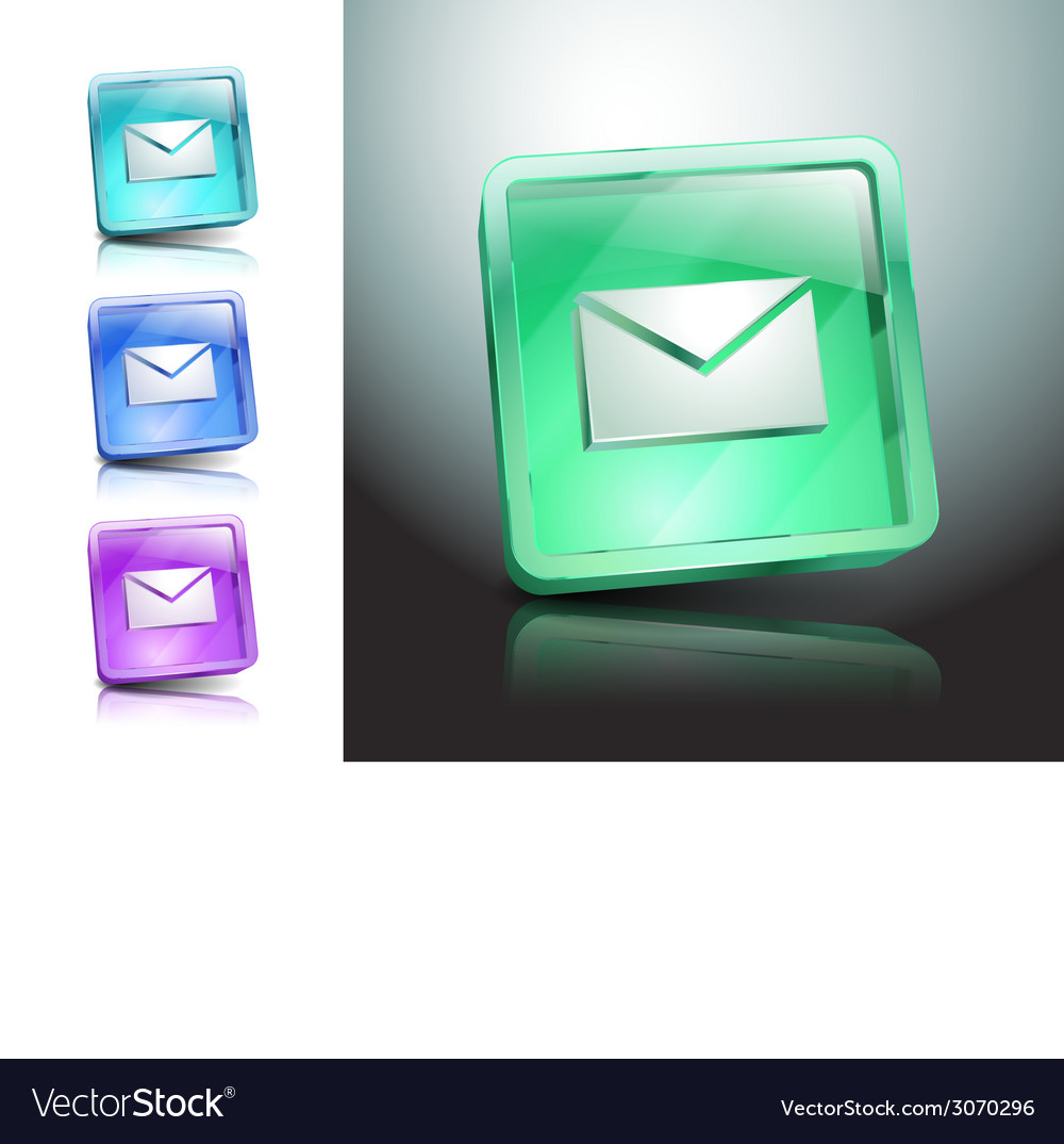 Glass icons set green messaging e-mail vector | Price: 1 Credit (USD $1)