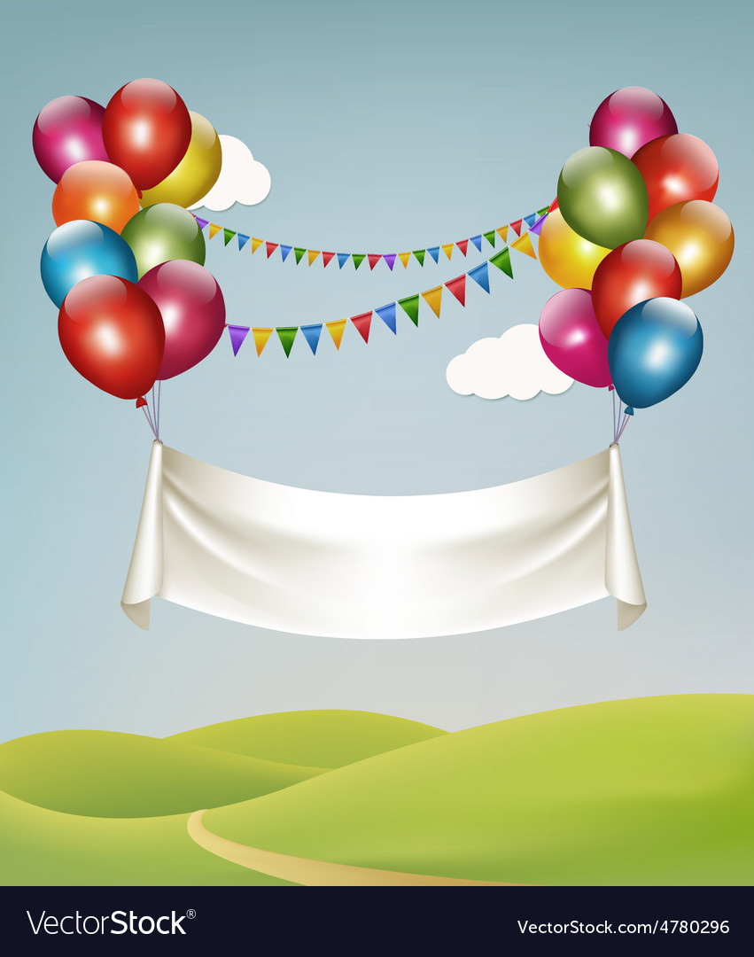 Happy birthday banner with balloons vector | Price: 3 Credit (USD $3)