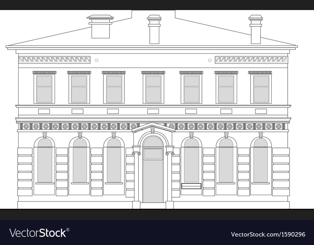 Heritage mansion building vector | Price: 1 Credit (USD $1)