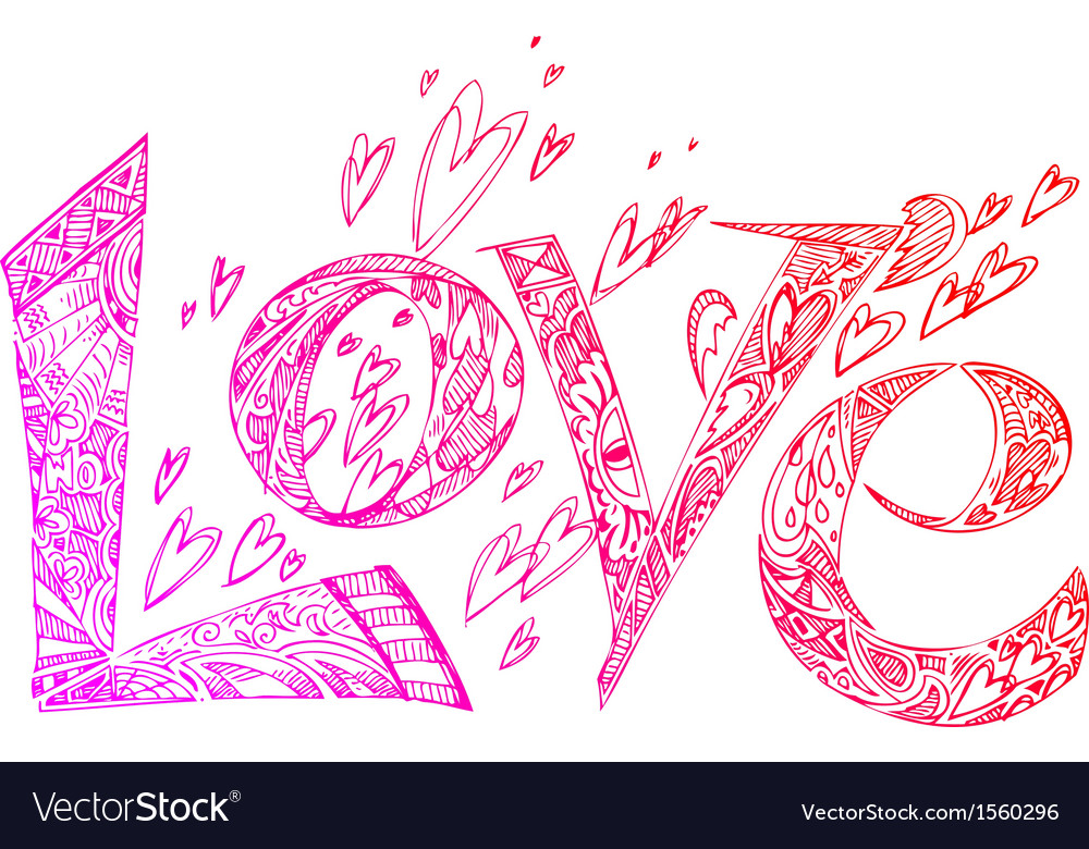 Love pink sketchy doodles vector | Price: 1 Credit (USD $1)