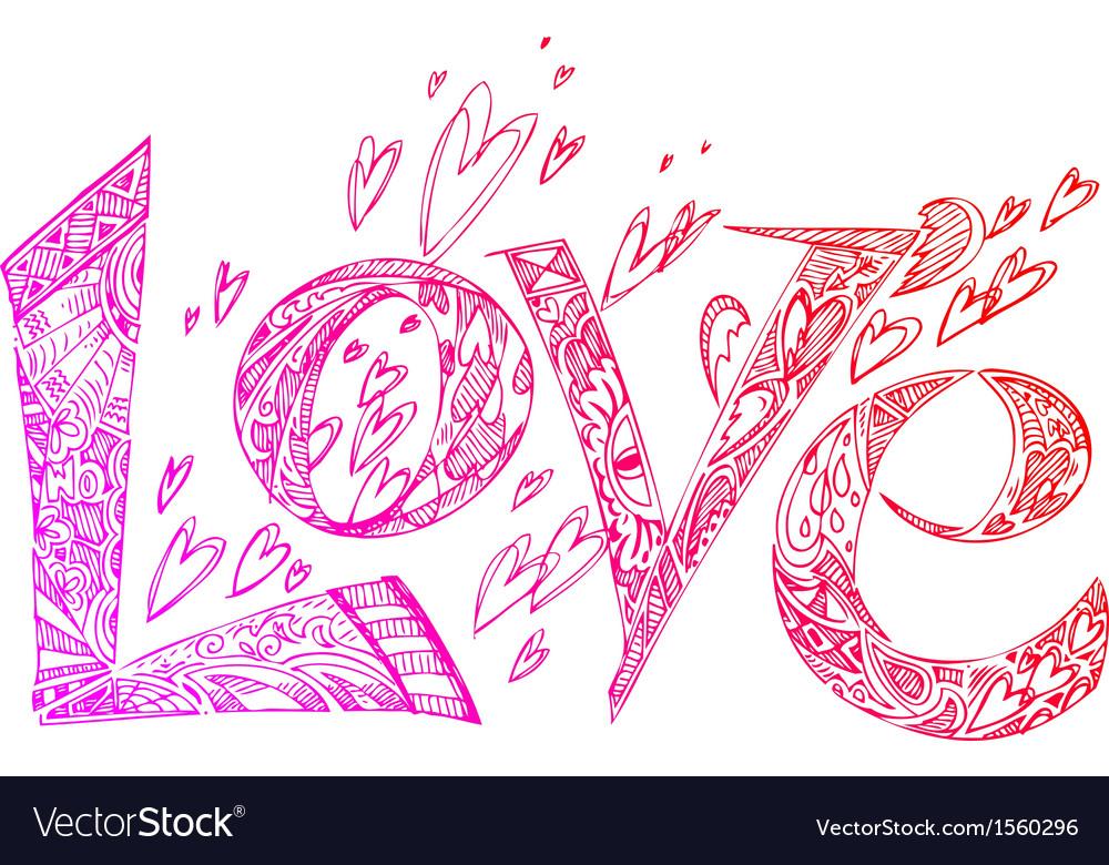 Love pink sketchy doodles vector | Price: 1 Credit (USD $1)