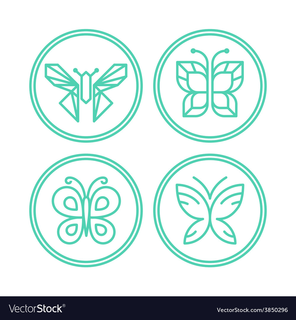 Set of line butterfly logos and icons vector | Price: 1 Credit (USD $1)