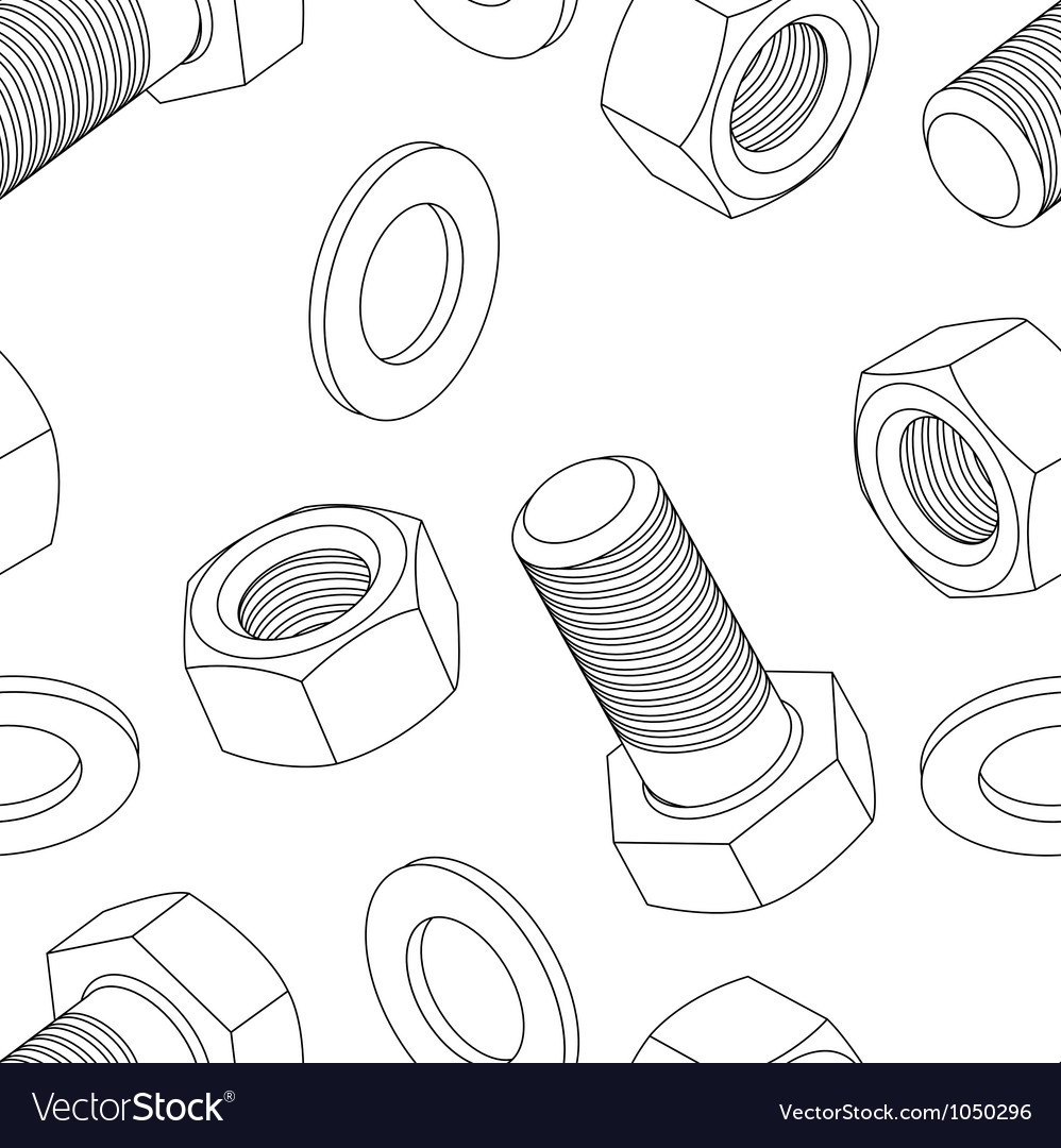 Stainless steel bolt and nut seamless wallpaper vector | Price: 1 Credit (USD $1)