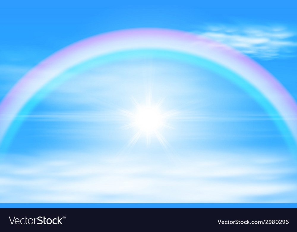Sun in a the sky with rainbow vector | Price: 1 Credit (USD $1)