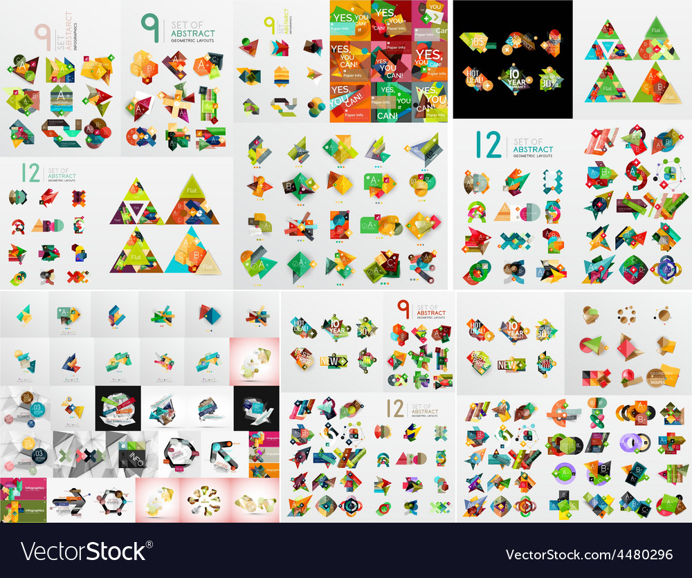 Super mega set of abstract geometric paper graphic vector | Price: 1 Credit (USD $1)