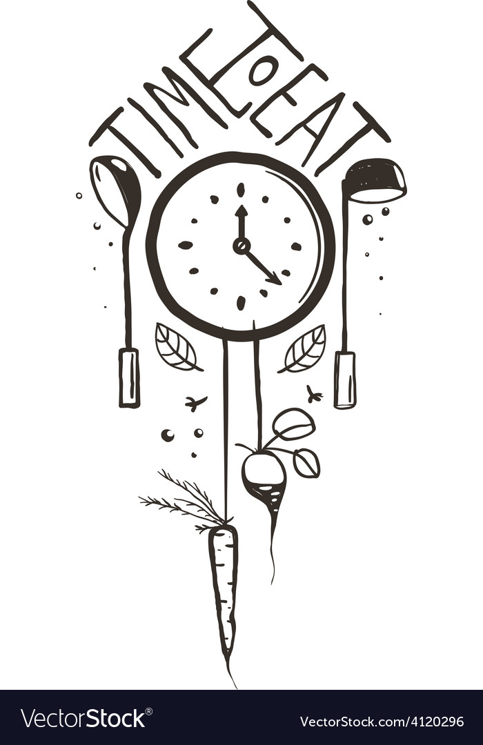 Time to eat sign and label one color design on vector | Price: 1 Credit (USD $1)