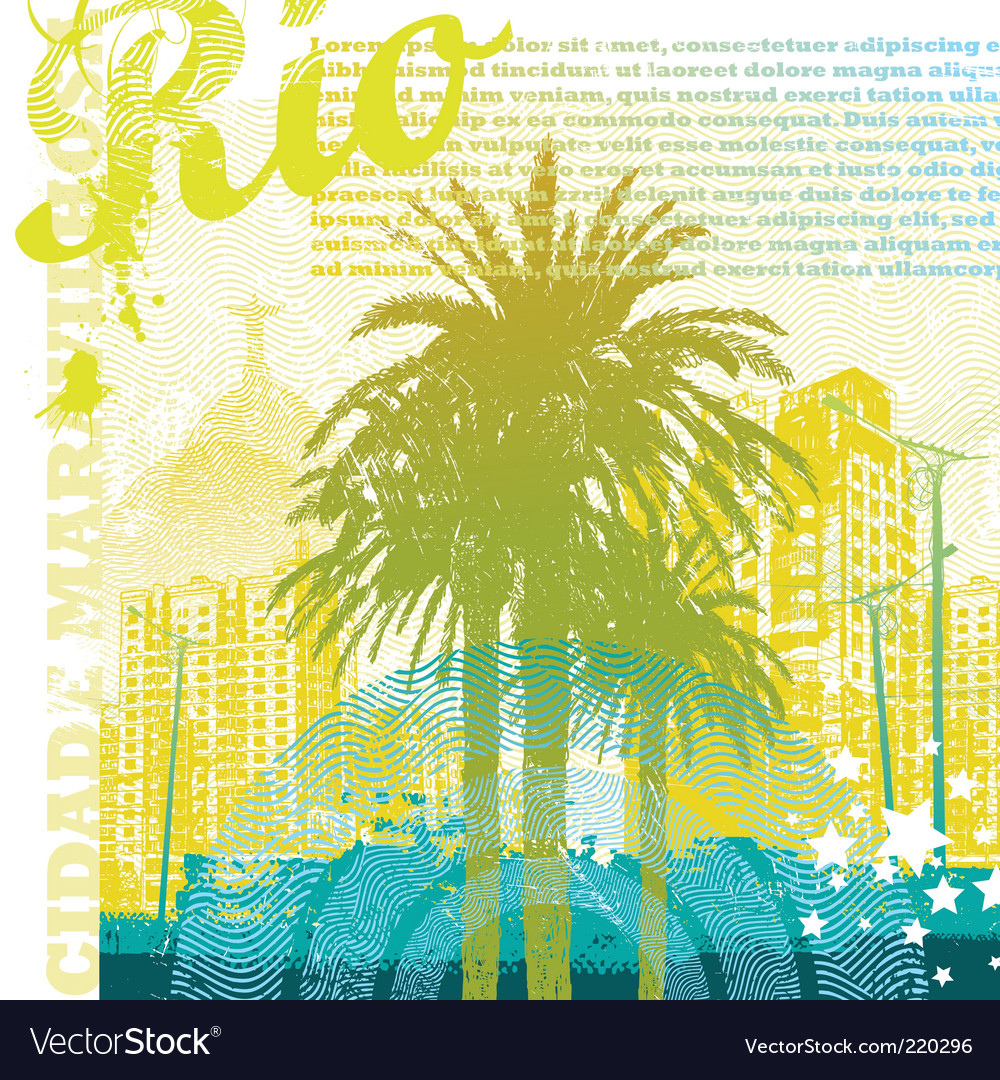 Tropical urban landscape vector | Price: 1 Credit (USD $1)