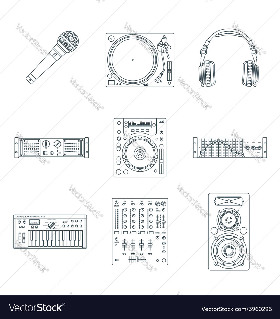 Various dark outline sound devices icons set vector | Price: 1 Credit (USD $1)