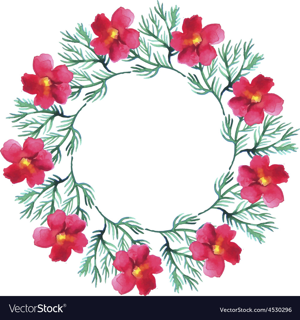 Watercolor floral wreath flower round vector | Price: 1 Credit (USD $1)