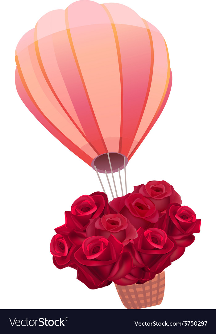 Balloon full of fresh red roses vector | Price: 1 Credit (USD $1)