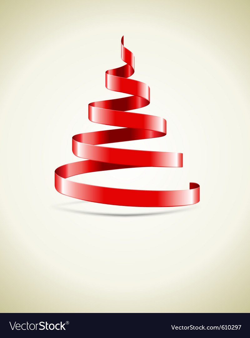 Christmas tree from red ribbon vector | Price: 1 Credit (USD $1)