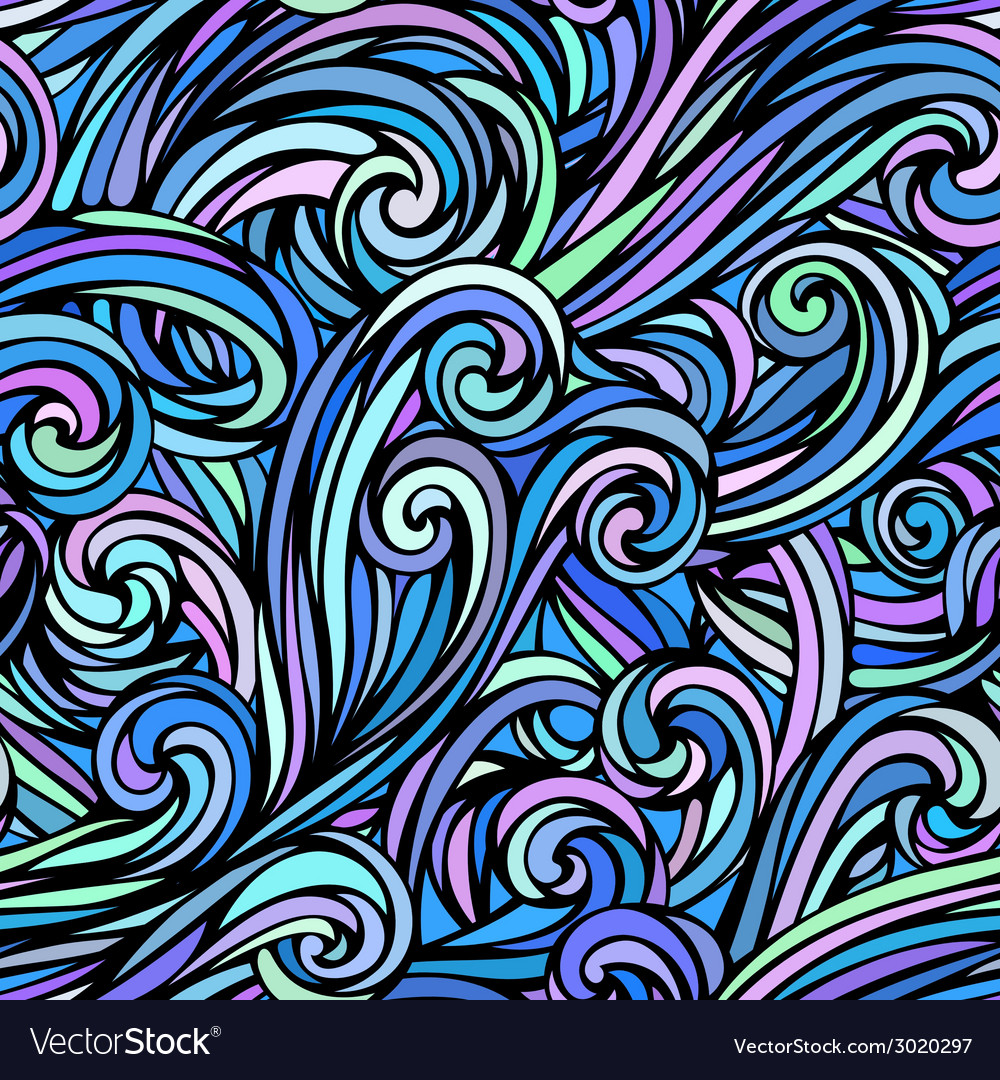 Colourful hand-drawn waves pattern vector | Price: 1 Credit (USD $1)