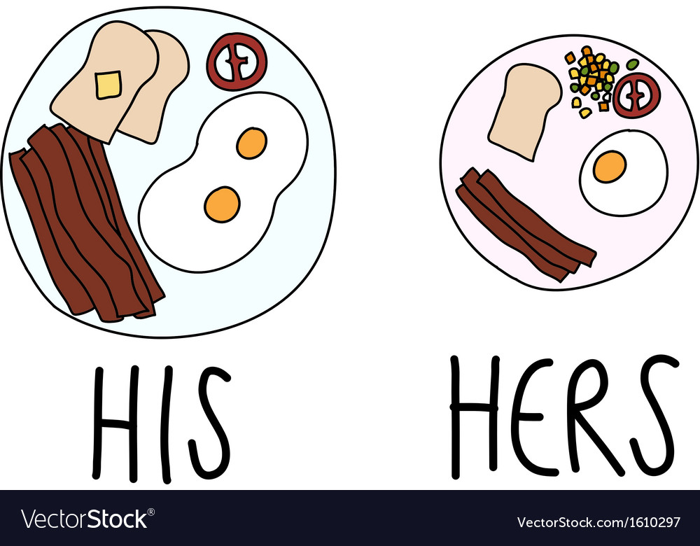 Comparing of his and hers breakfast vector | Price: 1 Credit (USD $1)