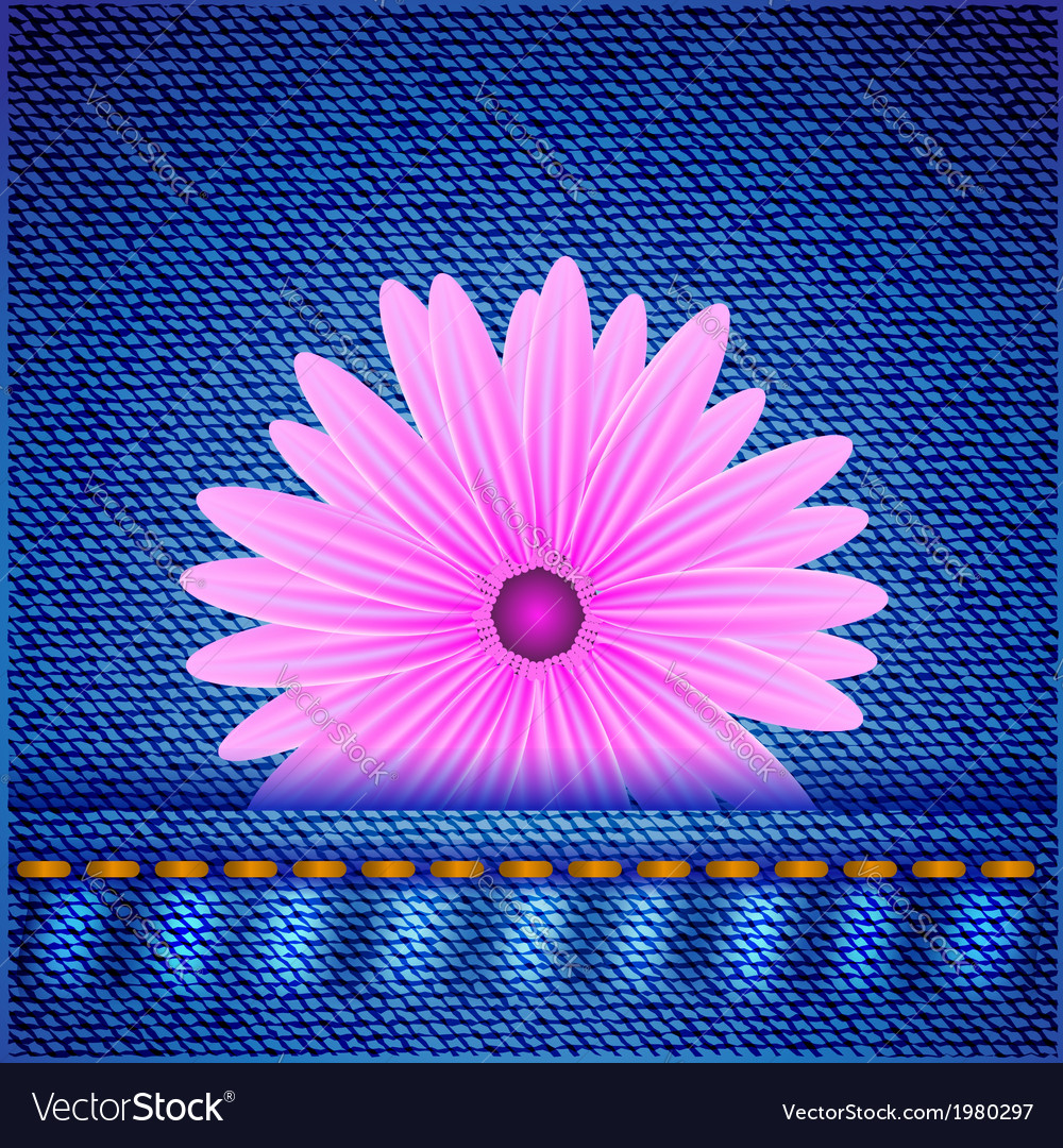 Flower on jeans background vector | Price: 1 Credit (USD $1)
