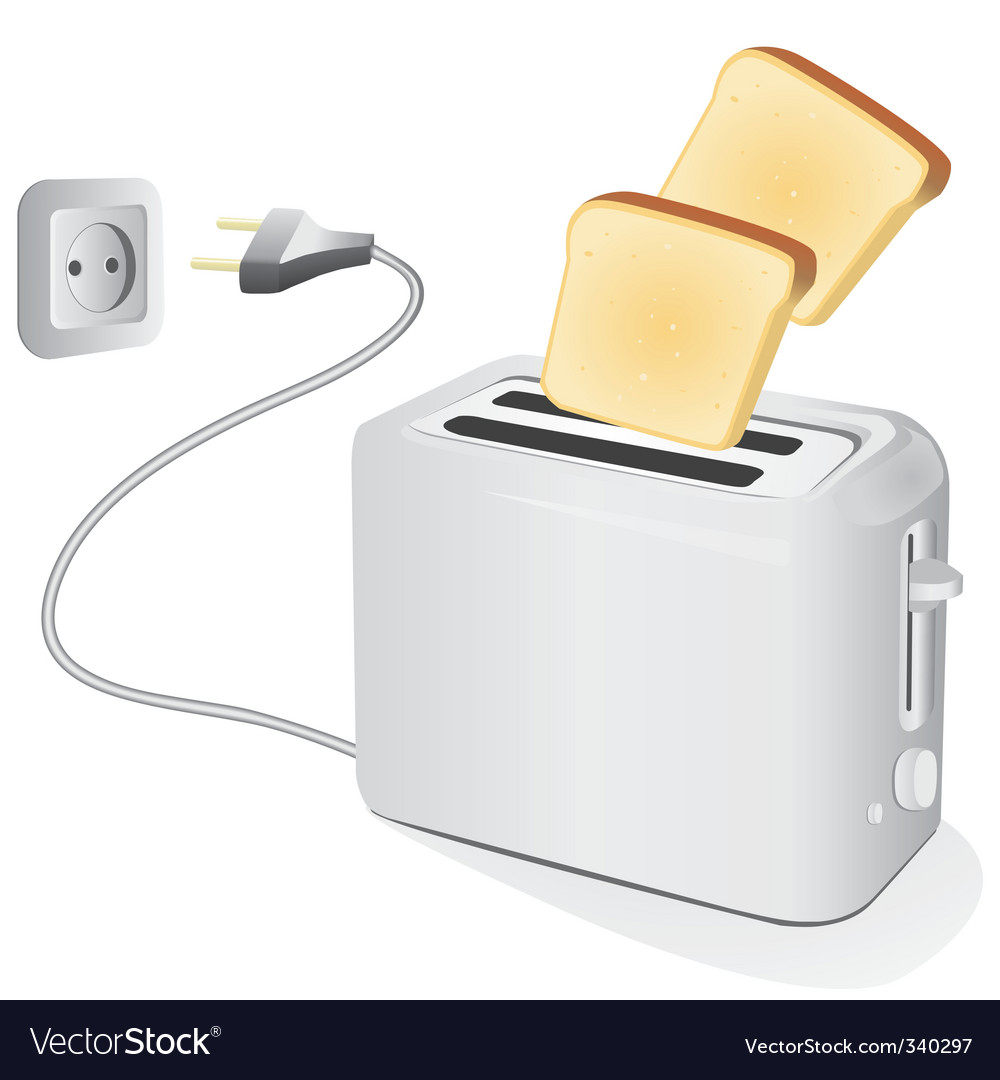 Plastic electric toaster with toast vector | Price: 1 Credit (USD $1)