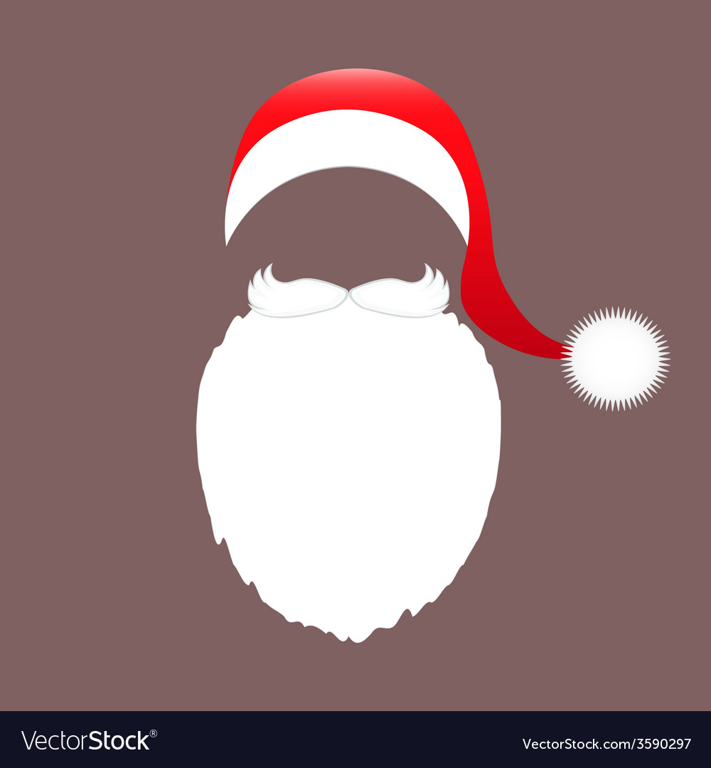 Santa claus cap beard and mustache vector | Price: 1 Credit (USD $1)