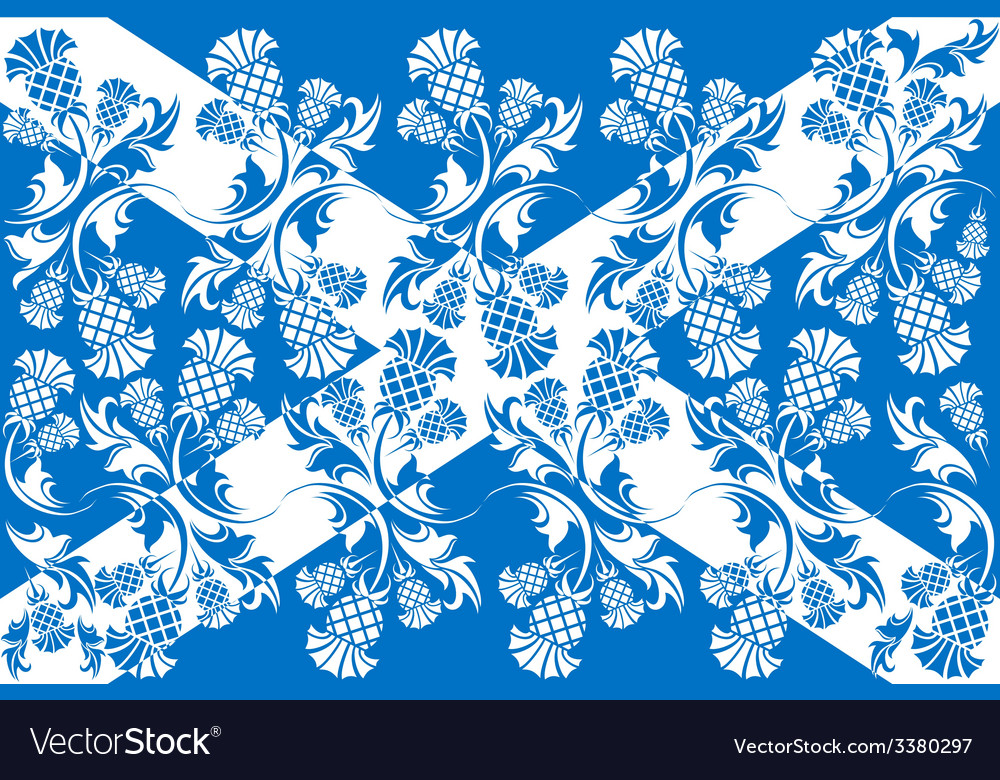 Scottish flag with ornaments of flowers thistle vector | Price: 1 Credit (USD $1)