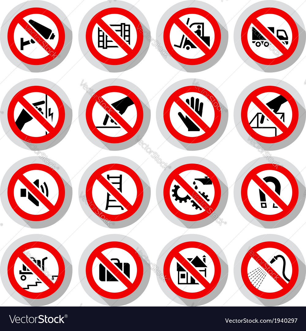 Set icons prohibited symbols vector | Price: 1 Credit (USD $1)