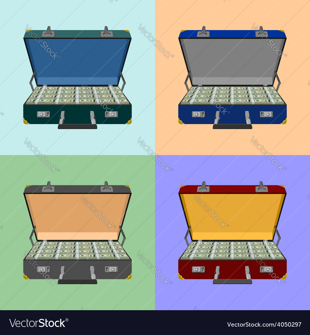 Set lot of money in a suitcase vector | Price: 1 Credit (USD $1)