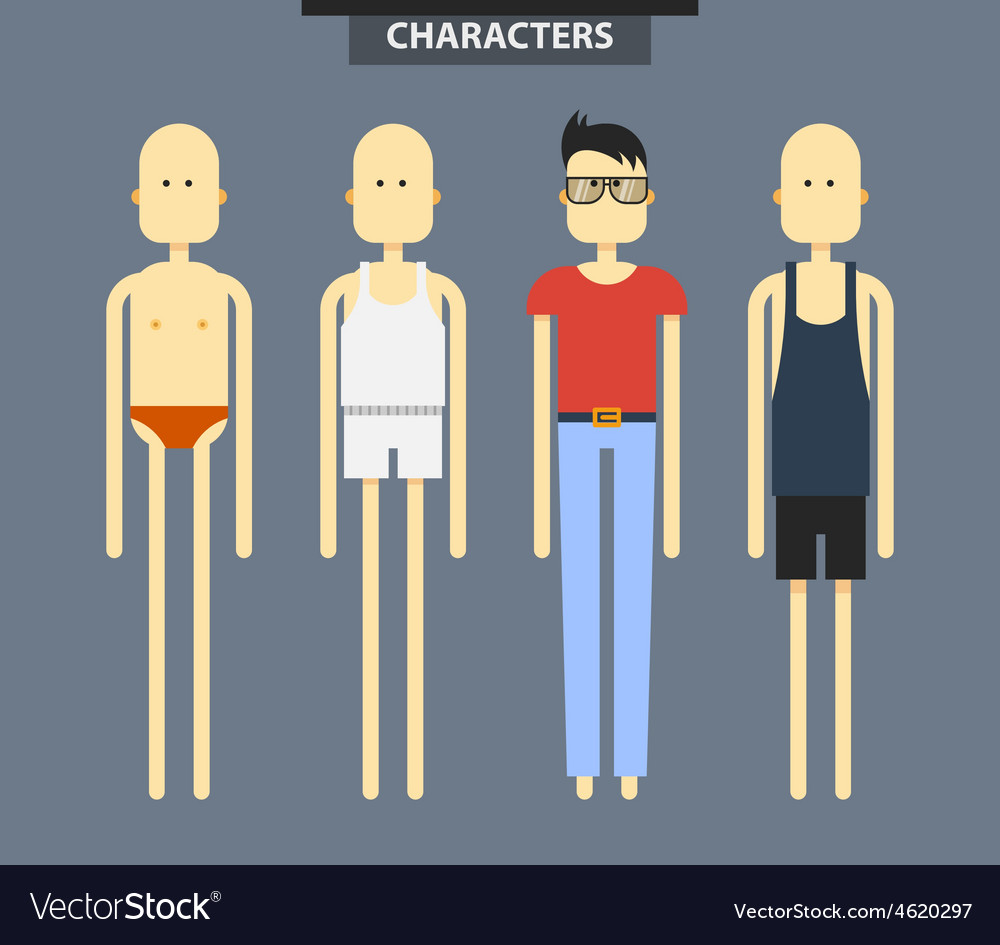 Set of characters in different clothes flat style vector | Price: 1 Credit (USD $1)