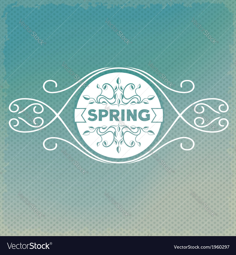 Spring label design with floral ornaments vector | Price: 1 Credit (USD $1)