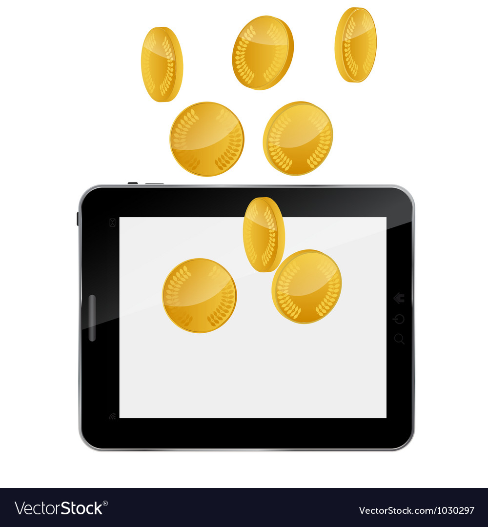 Tablet pc with gold coin money concept vector | Price: 1 Credit (USD $1)