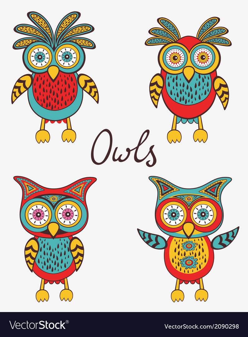 Cute colorful owls set vector | Price: 1 Credit (USD $1)