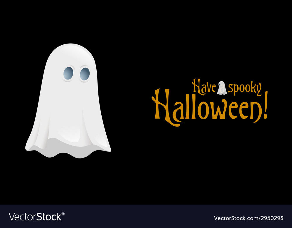 Halloween poster with ghost vector | Price: 1 Credit (USD $1)