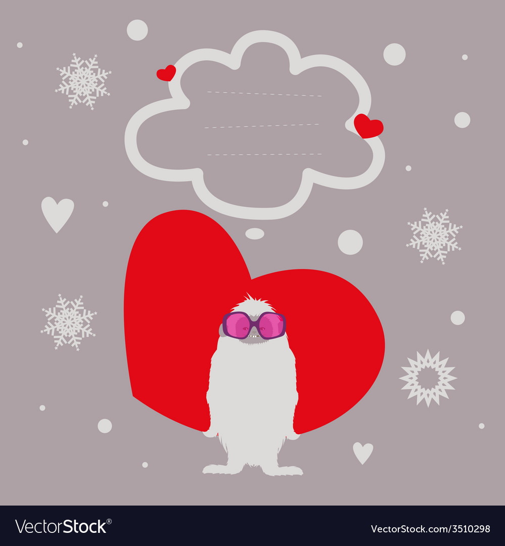 Holiday post card with yeti vector | Price: 1 Credit (USD $1)
