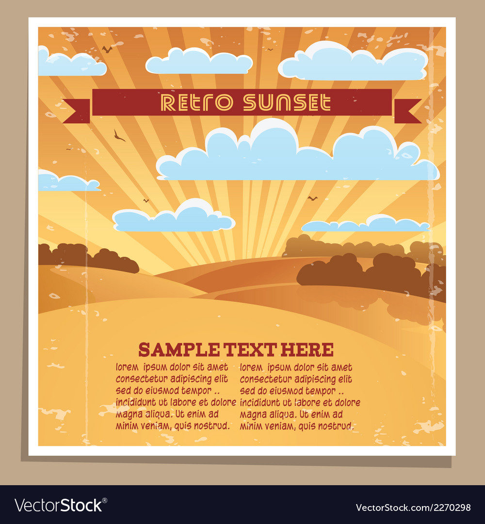 Landscape retro sunset poster vector | Price: 1 Credit (USD $1)
